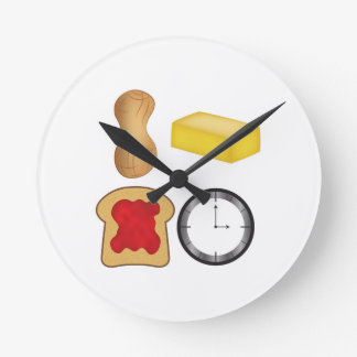 Peanut Butter Jelly Time! Round Wall Clocks