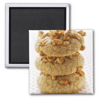 Peanut cookies in a pile 2 inch square magnet