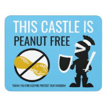 Peanut Free Area Kids Knight No Nuts Allowed Door Sign