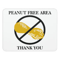 Peanut Free Area Nut Free School Customizable Door Sign
