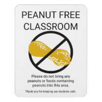 Peanut Free Classroom Alert Customizable School Door Sign