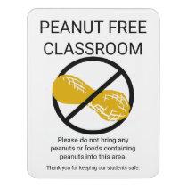 Peanut Free Classroom Alert Customizable School Door Sign