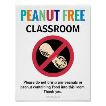 Peanut Free Classroom Customized Allergy School Poster