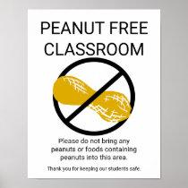 Peanut Free Classroom Sign School No Peanut Symbol Poster