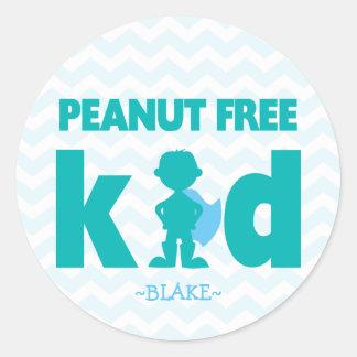Peanut Free Kid Superhero Boy Allergy Stickers