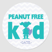 Peanut Free Kid Superhero Girl Allergy Stickers