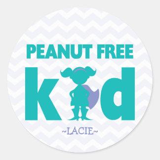 Peanut Free Kid Superhero Girl Allergy Stickers