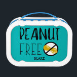 """Peanut Free Lunch Personalized Teal Lunch Box<br><div class=""""desc"""">Peanut Free Lunch Personalized Teal Kid&#39;s Lunch Box. Customize background color from teal to red, white or a color of your choice. Personalize with name. Let your child carry their peanut free safe lunch to school, daycare, or to play dates with this fun lunch box. Large bold no peanuts symbol...</div>"""