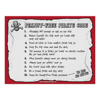 Peanut-Free Pirate Code (Poster) Poster