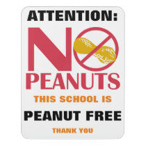 Peanut Free School Classroom Personalized Door Sign
