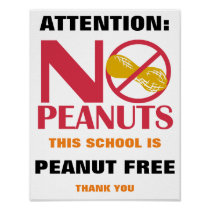 Peanut Free School Sign for School or Daycare