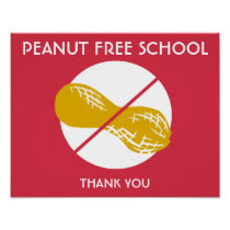 Peanut Free School Sign for School or Daycare Poster