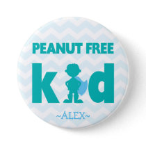 Peanut Free Superhero Boy Button
