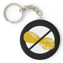 Peanut Free Symbol Black No Peanuts Allergy Kids Keychain