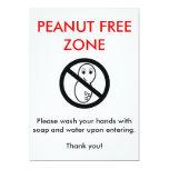Peanut Free Zone Card