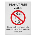 Peanut Free Zone Poster