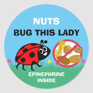 Peanut Tree Nut Allergy Alert Epinephrine Ladybug Classic Round Sticker