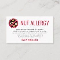 Peanut Tree Nut Allergy Alert Restaurant Card