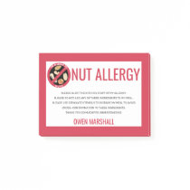 Peanut Tree Nut Allergy Alert Restaurant Custom Post-it Notes