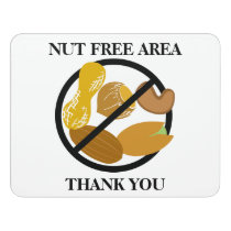 Peanut & Tree Nut Free Area Nut Free School Door Sign