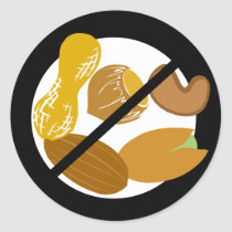 Peanut Tree Nut Free Black Allergy Nut Classic Round Sticker