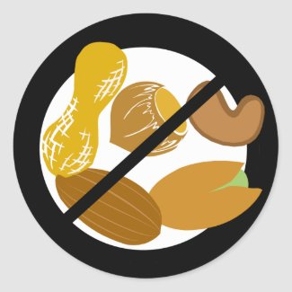 Peanut Tree Nut Free Black Allergy Nut Classic Round Sticker