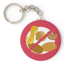 Peanut Tree Nut Free Symbol Red Allergy Kids Keychain