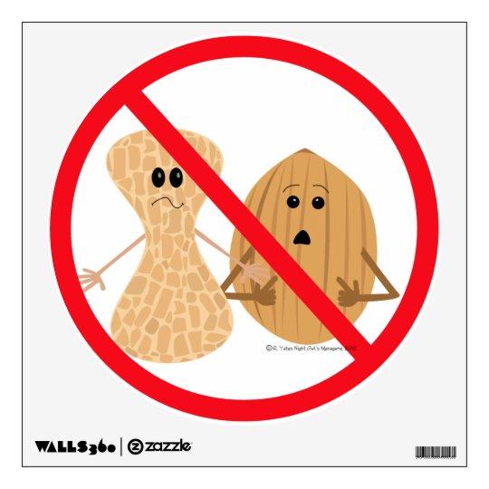 Peanut & Tree Nut Free Zone Food Allergy Print Wall Decal
