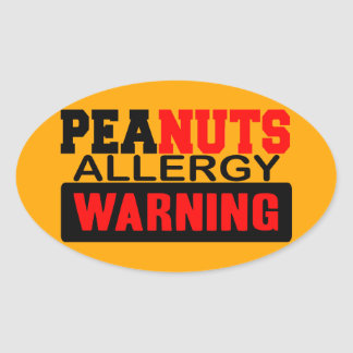 Peanuts Allergy Warning Oval Sticker