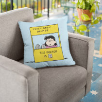 Peanuts   Lucy & the Doctor Is In Throw Pillow