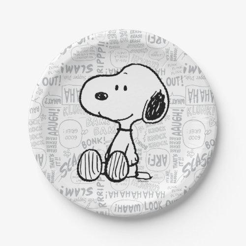 PEANUTS | Snoopy on Black White Comics Paper Plate