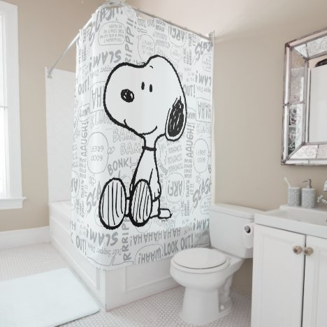 PEANUTS | Snoopy on Black White Comics Shower Curtain