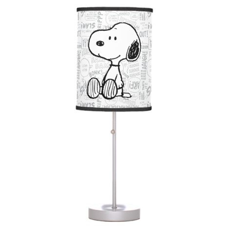 PEANUTS | Snoopy on Black White Comics Table Lamp