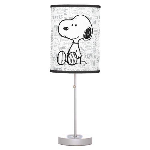 PEANUTS | Snoopy on Black White Comics Table Lamp