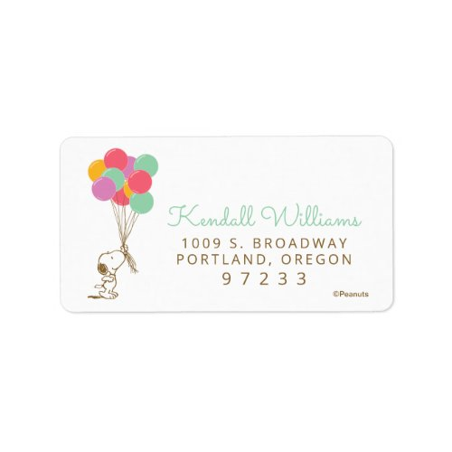 Peanuts | Snoopy with Balloons Baby Shower Label