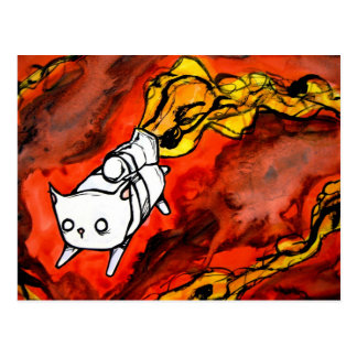 peapod cat with a jet pack postcard