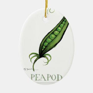 peapod, fernandes tony adorno navideño ovalado de cerámica