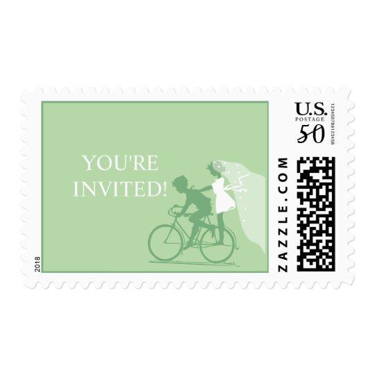 Peapod Green Bicycle Couple Wedding Postage