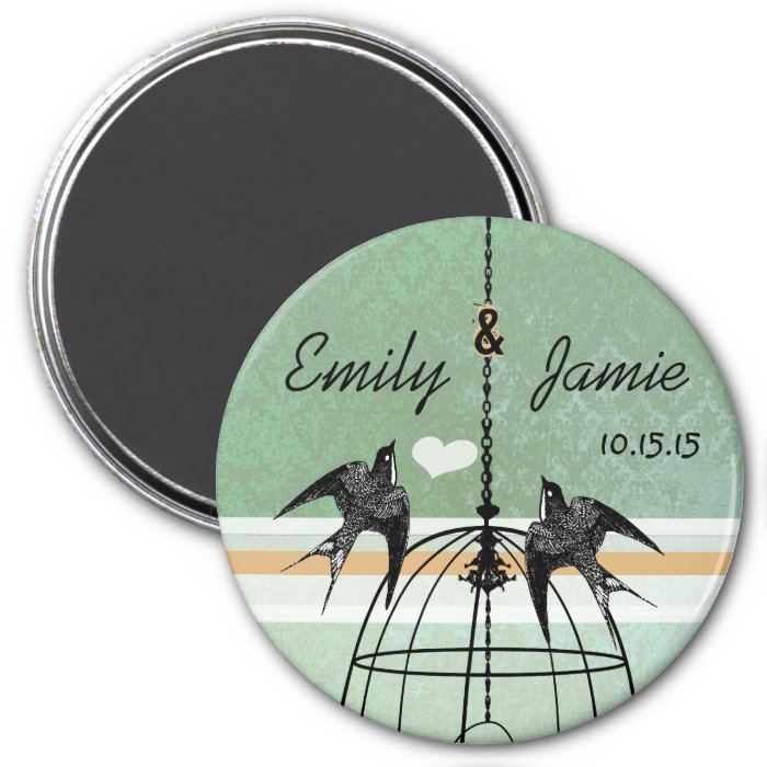 Peapod Green Damask & Coral Bird Cage Wedding 3 Inch Round Magnet