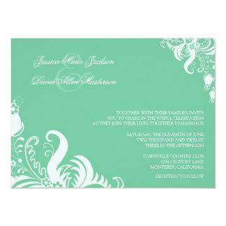 """Peapod Green Floral Accent Wedding Invitation 5.5"""" X 7.5"""" Invitation Card"""