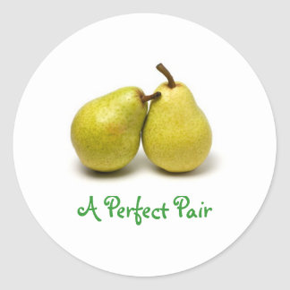 pear, A Perfect Pair Round Stickers