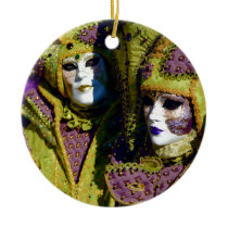 Pear and Antique Fuchsia Carnival Costumes Ceramic Ornament