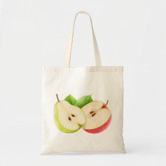 Pear and apple halves tote bag