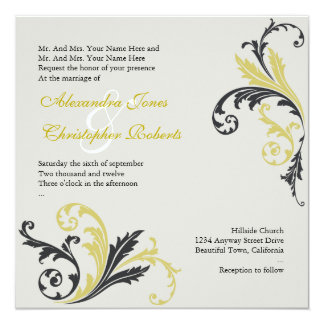 Pear & Charcoal Flower Swirls Damask Elegant Weddi Card