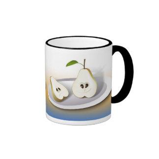 Pear Cut Cartoon Ringer Coffee Mug