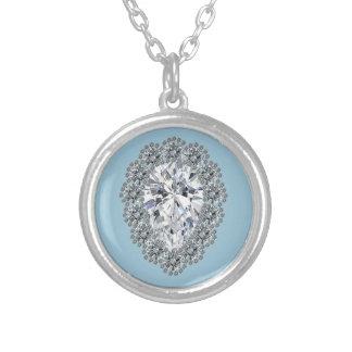 Pear Diamond Pin Round Pendant Necklace
