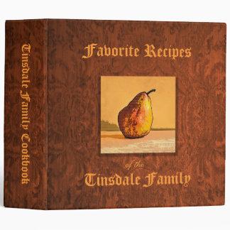 "Pear Engraving Custom 2"" Recipe Binder"