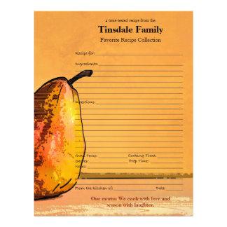 Pear Engraving Custom Family Recipe Page Letterhead