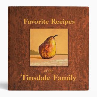 """Pear Engraving Family Recipe 1.5"""" Binder"""