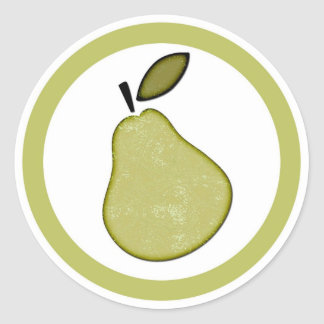Pear flavor circle sticker labels